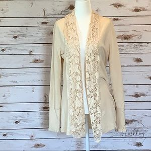 LUCKY BRAND BEIGE CARDIGAN WITH LACE LAPEL